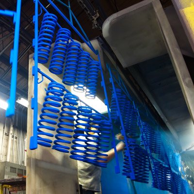 Blue Powder Coated Springs A&E Powder Coating